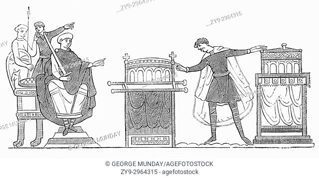 During Harold Godwinson's visit to Normandy in 1064 he swore fidelity to William I aka William the Conquerer, as a potential king of England