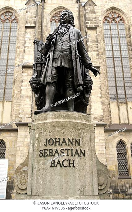 Statue of Johann Sebastian Bach, Thomaskirche, Leipzig, Germany, Europe