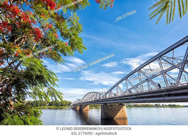 Truong Tien Bridge, designed by Gustave Eiffel. Hue, Vietnam