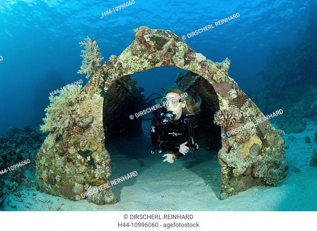 Hangar of Cousteaus Underwater Habitat Precontinent II, Shaab Rumi, Red Sea, Sudan
