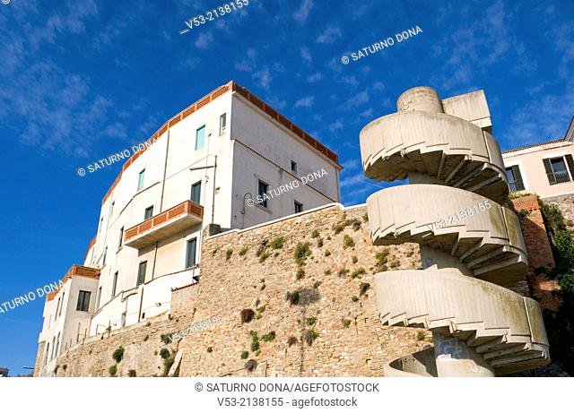 Buildings and concrete spiral staircase in Termoli, Molise region, Italy