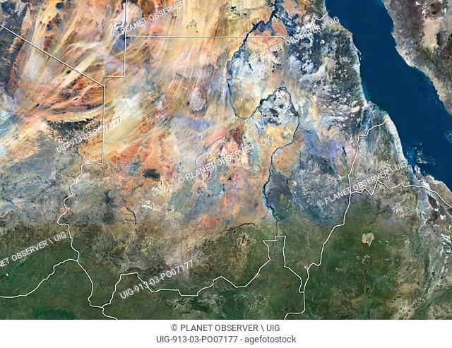 Satellite view of Sudan (with country boundaries). This image was compiled from data acquired by Landsat 8 satellite in 2014