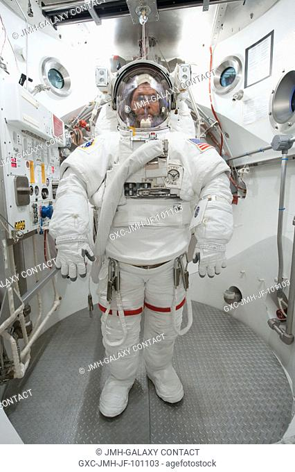 NASA astronaut Kevin Ford, Expedition 33 flight engineer and Expedition 34 commander, participates in an Extravehicular Mobility Unit (EMU) spacesuit fit check...