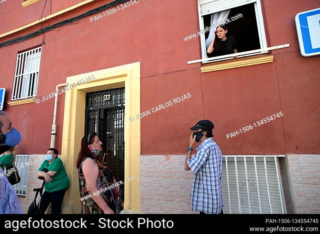 Madrid, Spain; 04/08/2020.- Maria del Pilar, along with members of the Platform for People Affected by the Mortgage (PAH)