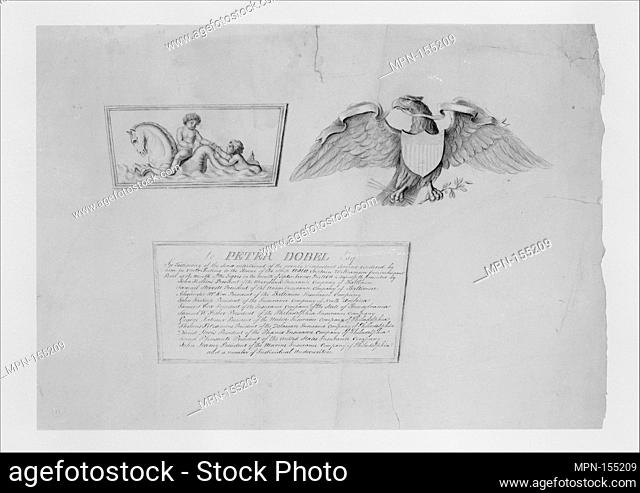 Designs for the ornaments and inscription on a testimonial urn. Artist: Thomas Fletcher (American, Alstead, New Hampshire 1787-1866 New Jersey); Artist: Sidney...