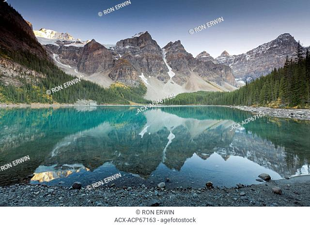 Moraine Lake and the Valley of the Ten Peaks from the Lakeshore trail in Banff National Park, Alberta, Canada - the colour of tourquoise or blue the lake...