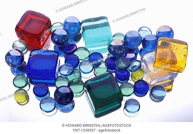 horizontal image of colored glass blocks on light box