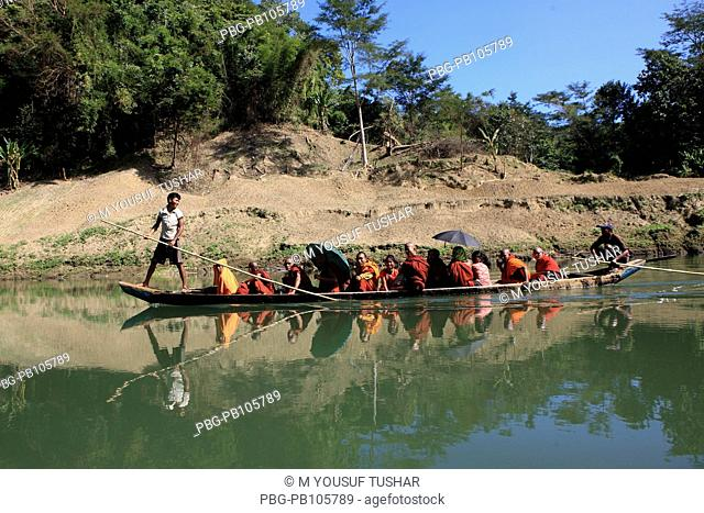 A ferry boat on the Sangu River at Thanchi Bandarban, Bangladesh December 2009