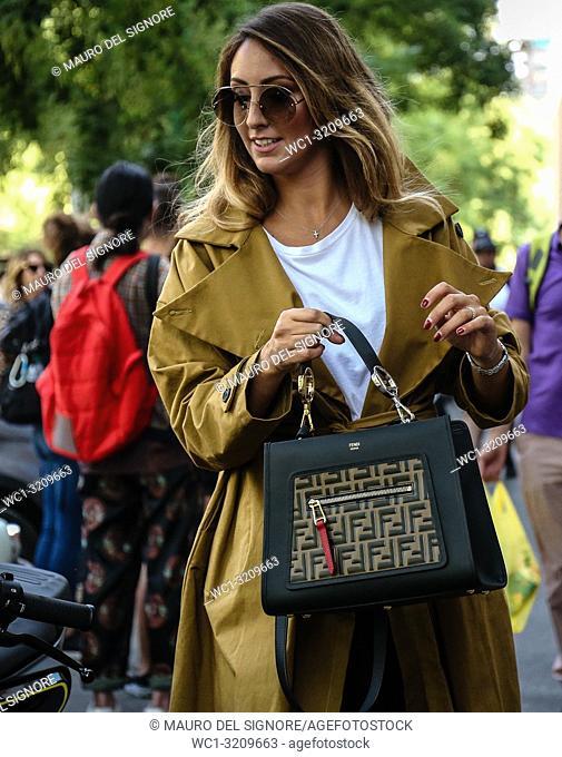 MILAN, Italy- September 20 2018: Elisa Taviti on the street during the Milan Fashion Week