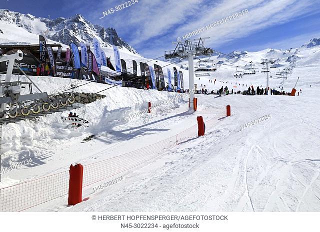 Flags of Companies, Business, Haute Savoie, Trois Vallees, Three Valleys, Ski Resort, France, Europe
