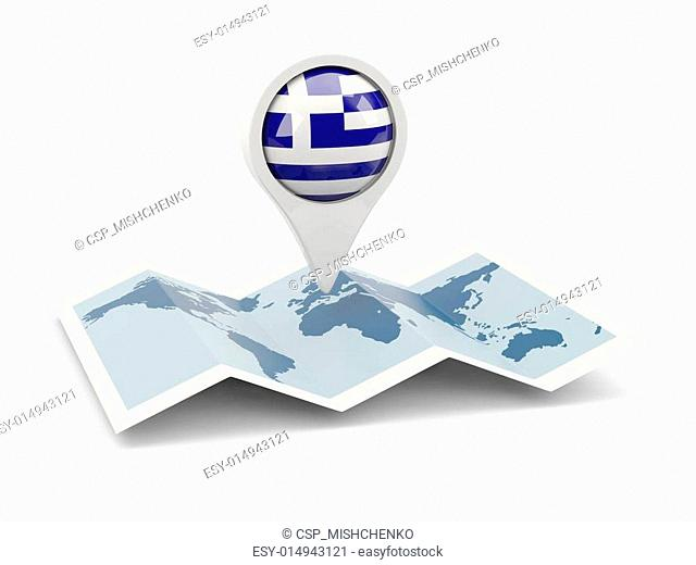 Round pin with flag of greece