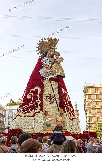 Cloak of flowers of the virgin of Valencia. Fallas. Valencia. Spain