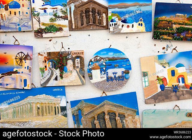 Souvenirs, colourful plaques of tourist destinations in Greece