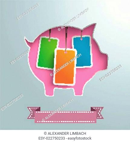 Piggy Bank Price Stickers Silver Background Infographic PiAd