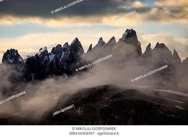 Europe, Italy, Alps, Dolomites, Mountains, View from Forcella di Lavaredo. Lavaredo Pass - Sexten Dolomites