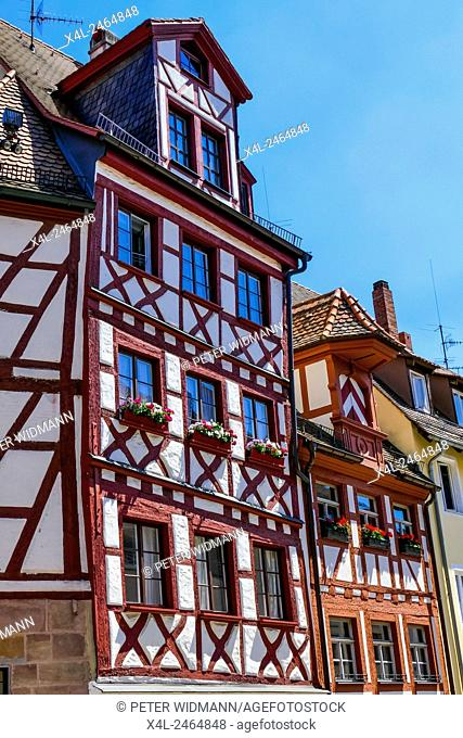 A typical half-timbered facade in Nuremberg, Franconia, Bavaria, Germany, Europe