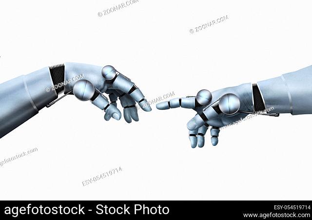 Symbolische Animation durch Berührung mit einem Roboter. 3d illustartion, Symbolic animation through touch