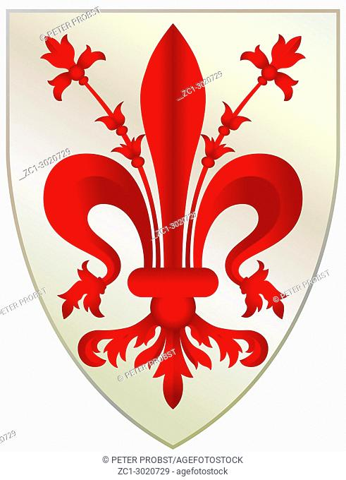 Coat of arms of the Tuscan city Florence - Italy. Caution: For the editorial use only. Not for advertising or other commercial use!