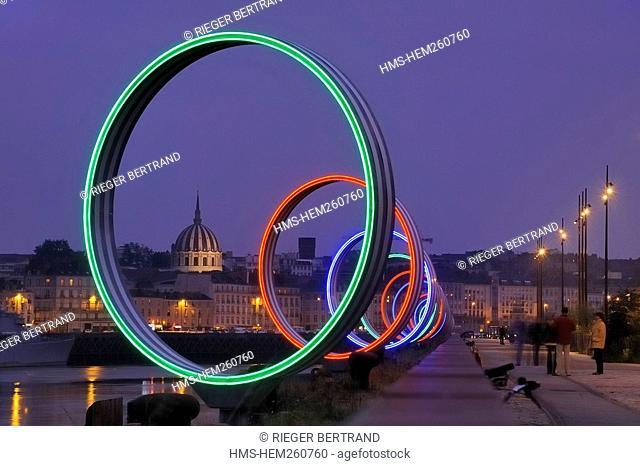France, Loire Atlantique, Nantes, Ile de Nantes, Buren's rings on Loire River quays
