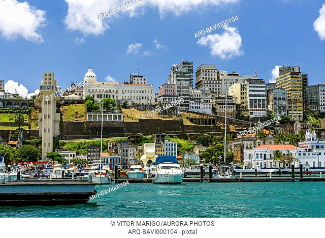 Cityscape and exterior of Elevador Lacerda in Salvador, Bahia state, Brazil