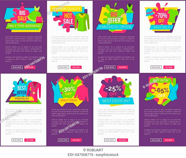 Big bundle of promo web posters with clothing apparels on colorful labels vector webpages design with fashionable gowns sale discounts best price concept