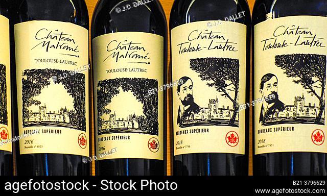 France, Nouvelle Aquitaine, Gironde, Bottles of red wine from Chateau Malromé, former Toulouse Lautrec family estate, at Saint André du Bois