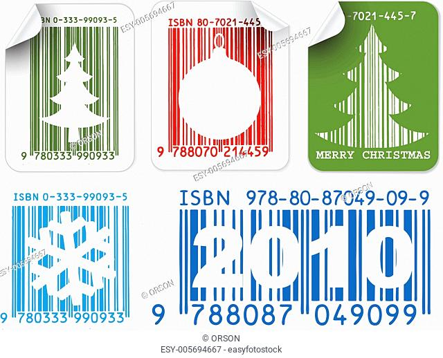 Labels with Christmas bar codes