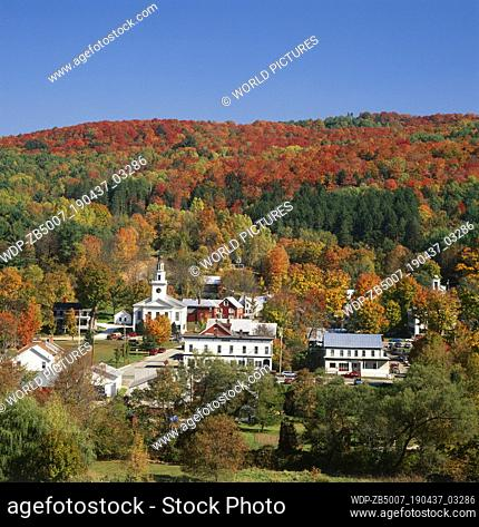 View over Chelsea in Autumn, Vermont, USA