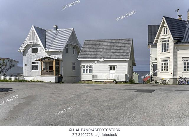 cityscape with traditional houses at Artic village, shot under bright summer light at Bleik, Andoya, Vesteralen, Norway