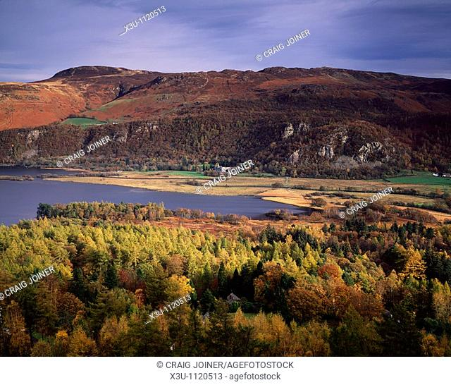 View over Derwent water and the Borrowdale valley from Cat Bells in the Lake District National Park, Keswick, Cumbria, England, United Kingdom