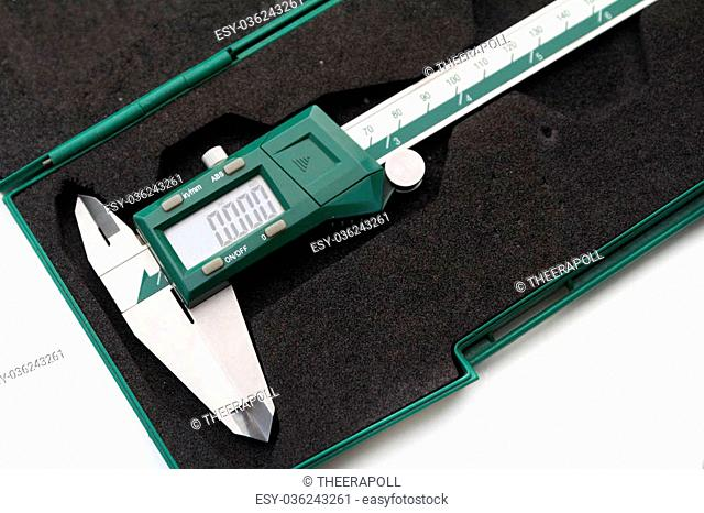verniercaliper type digital on green box on white background