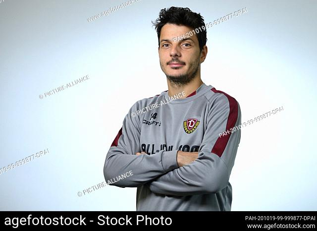 19 October 2020, Saxony, Dresden: Philipp Hosiner, football player at Dynamo Dresden, is a member of the AOK-Plus Walter Fritz Academy