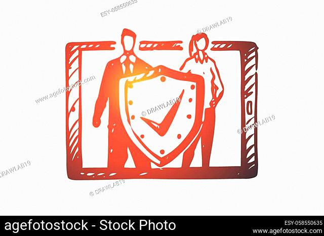 Laptop, protection, safety, data, secure concept. Hand drawn shield as symbol of data protection concept sketch. Isolated vector illustration