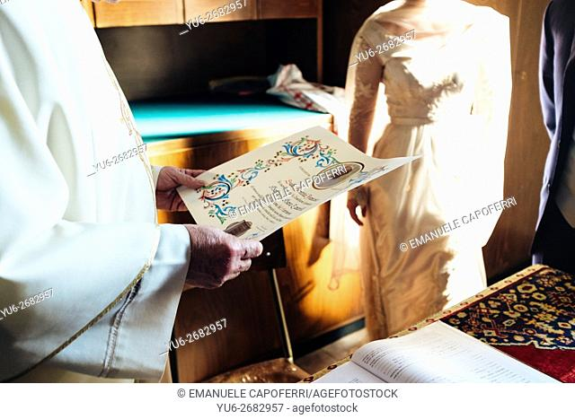 Parchment with papal blessing for the newlyweds