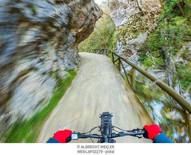Spain, Asturia, Ruta del Alba, Personal perspective of cyclist
