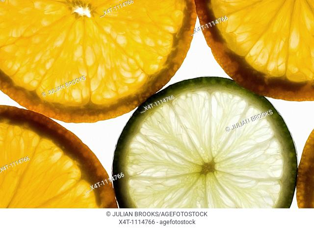 Thin slices of orange lit from behind with one slice of lime