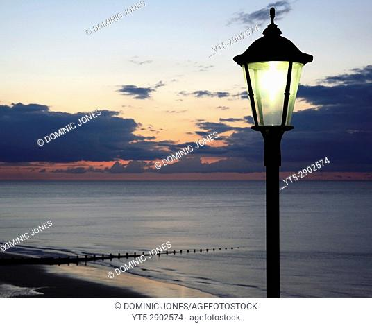 Night draws in over The North Sea and Cromer Beach, Cromer, Norfolk, England, Europe