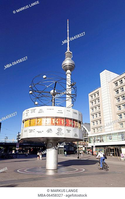 Television tower and world time clock on the Alexanderplatz (square), the Mitte district of Berlin, Berlin, Germany