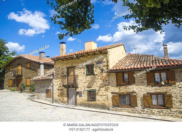 Facades of houses. la Hiruela, Madrid province, Spain