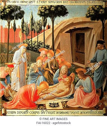 The Lamentation over Christ. Angelico, Fra Giovanni, da Fiesole (ca. 1400-1455). Tempera on panel. Renaissance. c. 1450. San Marco, Florence. 38,5x37