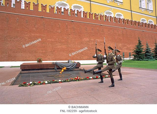 Military guard marching at war memorial, Tomb of the Unknown Soldier, Kremlin Wall, Alexander Garden, Moscow Russia