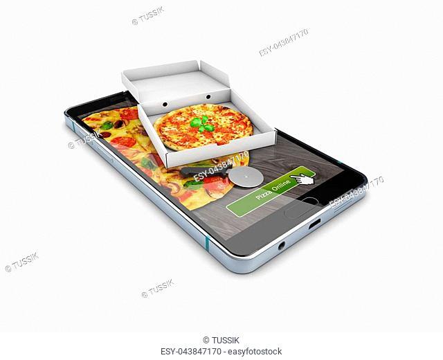 Pizza delivery, call or order online on mobile, cellular, smart phone. 3d illustration
