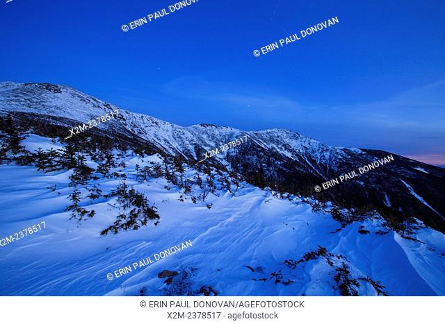 Franconia Ridge at blue hour from Greenleaf Trail on Mount Lafayette in the White Mountains, New Hampshire USA during the winter months