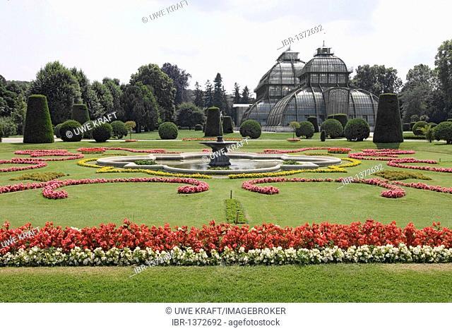 Palm house in the Schoenbrunn palace gardens in Vienna, Austria, Europe