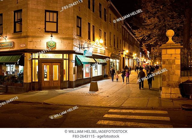 Rue Sainte-Anne pedestrian walkway, Old Quebec City, Quebec, Canada, night