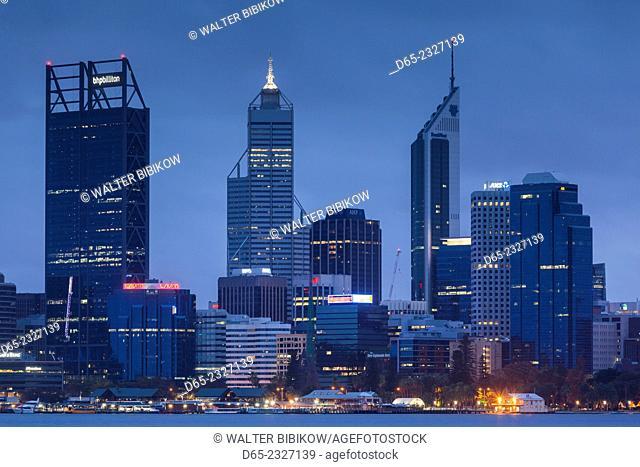 Australia, Western Australia, Perth, city skyline from Swan River, dawn