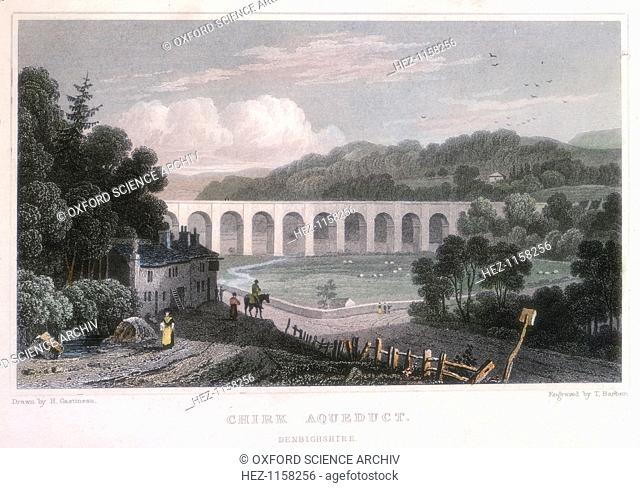 Chirk Aqueduct on the Ellesmere Canal, c1829. Now known as the Llangollen, the canal was built by the Scottish civil engineer Thomas Telford (1757-1834) between...