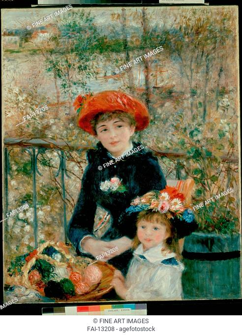 Two Sisters (On the Terrace). Renoir, Pierre Auguste (1841-1919). Oil on canvas. Impressionism. 1881. Art Institute of Chicago. 100x80. Painting