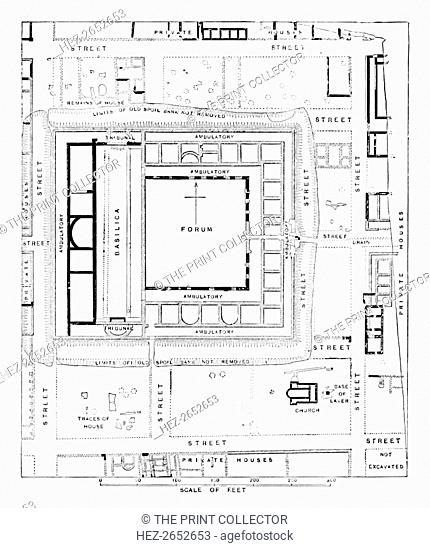 'Plan of Forum, Silchester', 1902. Calleva, formally Calleva Atrebatum (Calleva of the Atrebates), was an Iron Age oppidum and subsequently a town in the Roman...