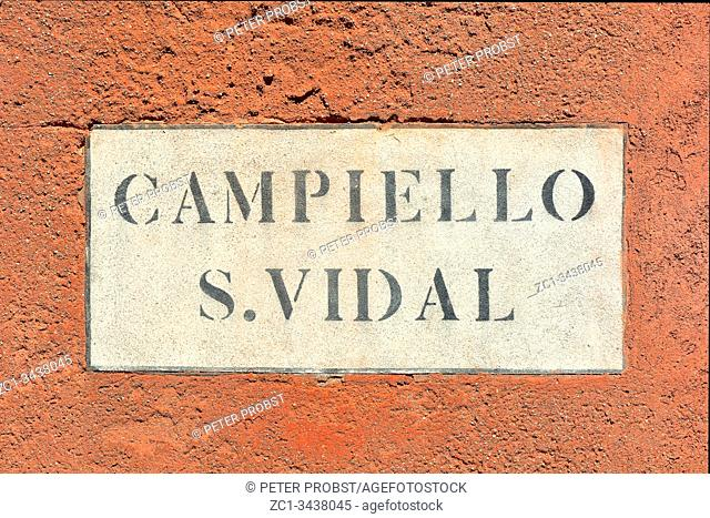 Street sign from the Campiello S. Vidal of Venice - Italy